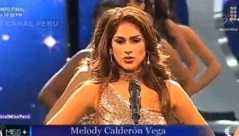 Durante el certamen de Miss Perú 2018, las participantes aprovecharon las pasarelas para dar cifras de violencia de género y feminicidios en el país. (Noticieros Televisa)