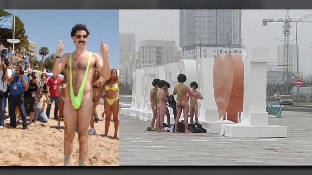 Arrestan a seis turistas por usar traje de baño 'Borat' en Kazajistán