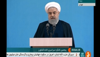 El presidente de Irán, Hassan Rohani, durante un mensaje