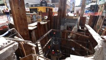 Mancera supervisa obras de reparación del socavón
