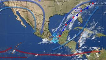 Mapa con el pronóstico del clima para este 23 de noviembre; frente frío 11 provocará bajas temperaturas y heladas en México. (SMN)