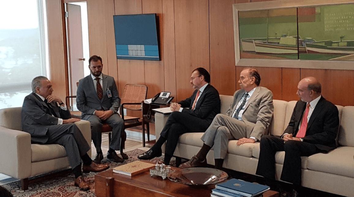 Luis Videgaray realiza gira de trabajo en Brasil, se reúne con Temer