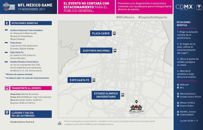 Rutas de transporte Estadio Azteca NFL México
