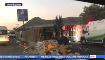 Vuelca tráiler en la autopista México-Puebla