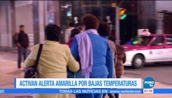 Activan alerta amarilla por bajas temperaturas en México