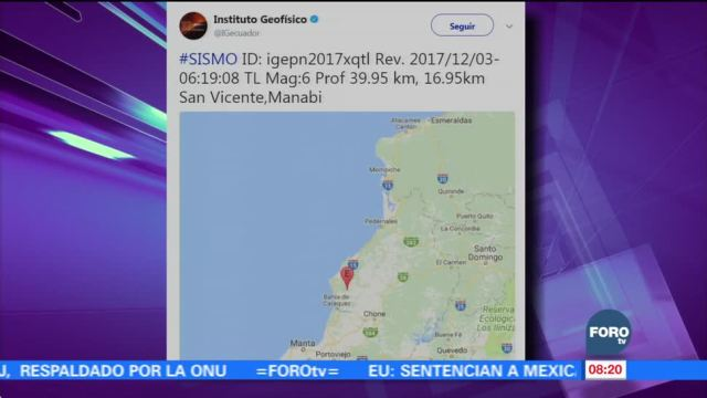 Se registra sismo de magnitud de 6.0 en Ecuador