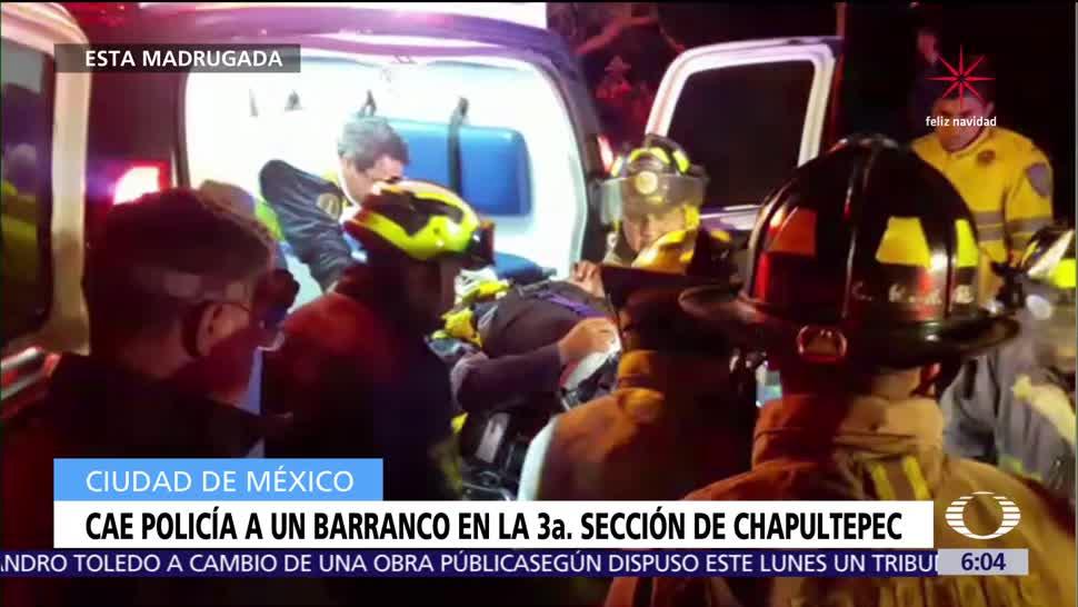 Cae policía a un barranco en Bosque de Chapultepec
