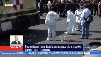 Tres custodios de camioneta de valores mueren durante intento de asalto en CDMX