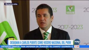 Designan a Carlos Puente como vocero nacional del PVEM