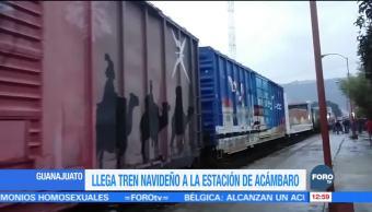 Llega tren navideño a estación de Acámbaro, Guanajuato