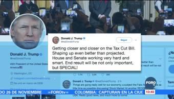 Trump reconoce al Senado por la aprobación de la reforma fiscal