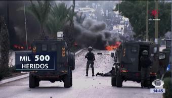 Continúan enfrentamientos entre palestinos e israelíes