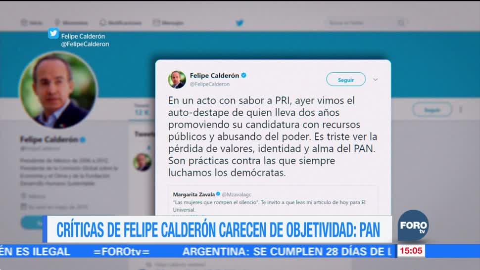 Críticas de Calderón carecen de objetividad: PAN