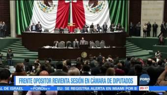 Frente opositor en San Lázaro 'revienta' la sesión