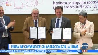 INE firma convenio de colaboración con la UNAM