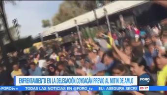Zafarrancho en Coyoacán por mitin de AMLO
