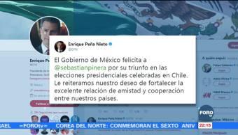 Peña Nieto felicita a Sebastián Piñera por ganar elección en Chile