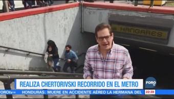 Chertorivski realiza recorrido en el Metro de la CDMX