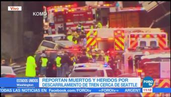 Reportan numerosas víctimas tras descarrilamiento de tren en Washington