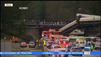 Reportan múltiples heridos, ningún muerto, por descarrilamiento de tren en Washington