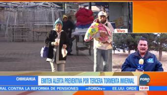 Emiten alerta preventiva en Chihuahua por la tercera tormenta invernal