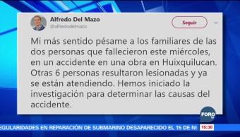 Alfredo del Mazo lamenta accidente de retroexcavadora en Huixquilucan