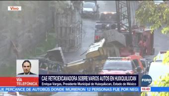 Retroexcavadora que cayó en Huixquilucan trabajaba en obra de mitigación del Estado de México