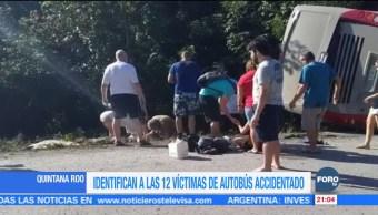 Identifican a las 12 víctimas de autobús accidentado en Quintana Roo