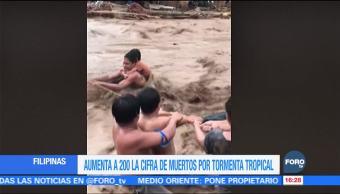 Aumenta a 200 la cifra de muertos por tormenta tropical en Filipinas