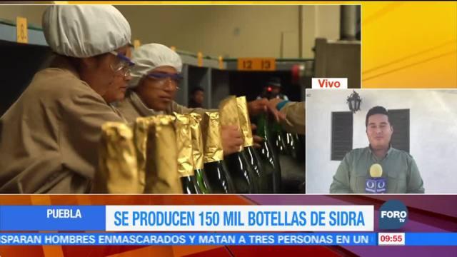 Puebla produce 150 mil botellas de sidra para Navidad y Año Nuevo