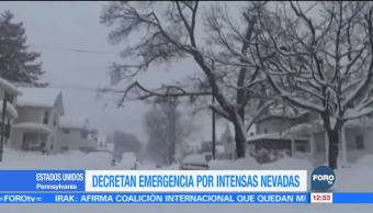 Decretan emergencia por intensas nevadas en Pennsylvania
