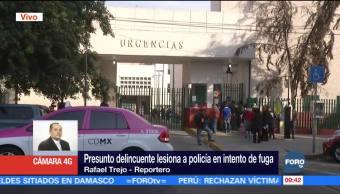 Delincuente hiere a policía durante intento de fuga en hospital de la CDMX