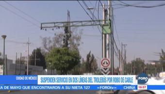 Roban cables a dos líneas del trolebús de la Ciudad de México