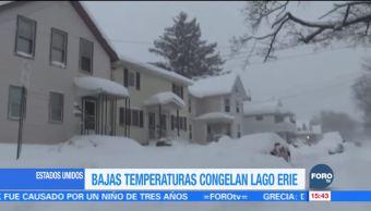 Bajas temperaturas congelan lago Erie en EU