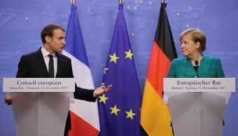 Macron y Merkel ven inaceptables violaciones al alto el fuego en Ucrania