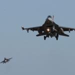Cazas de EU durante los ejercicios militares en la península coreana