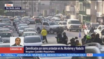 Damnificados por sismo protestan en Viaducto y Av. Monterrey, CDMX