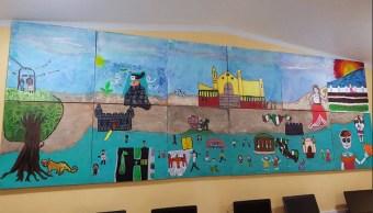 Alumnos de primaria de Campeche realizan mural para la UNESCO