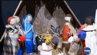 Nacimiento hecho con lana se exhibe en Roma. (Noticieros Televisa)