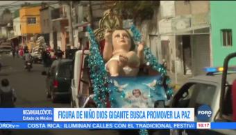 Niño Dios más grande del mundo recorre calles de Nezahualcóyotl