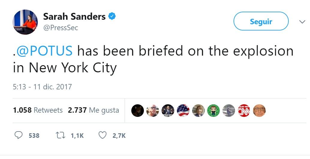 Momento de la explosión en Manhattan, cerca de Times Square