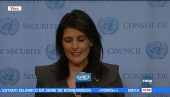 Nikki Haley ofrece mensaje sobre tensiones de EU con Irán y Norcorea