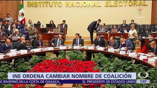 INE ordena cambiar el nombre a la coalición 'Meade, Ciudadano por México'