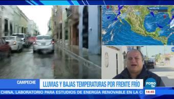 Frente frío provoca lluvias en Campeche