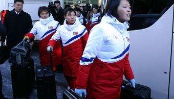 Jugadoras norcoreanas hockey llegan Surcorea juegos invierno