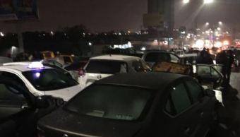 Pavimento congelado provoca choques múltiples en Monterrey. (Twitter/@_LASNOTICIASMTY)