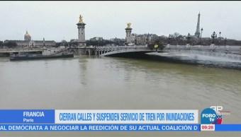Cierran calles y suspenden servicio de tren por inundaciones en París