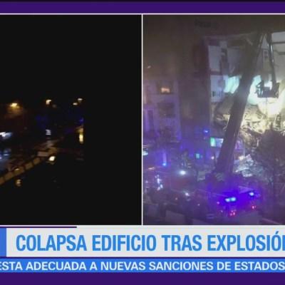 Colapsa edificio en Bélgica tras explosión