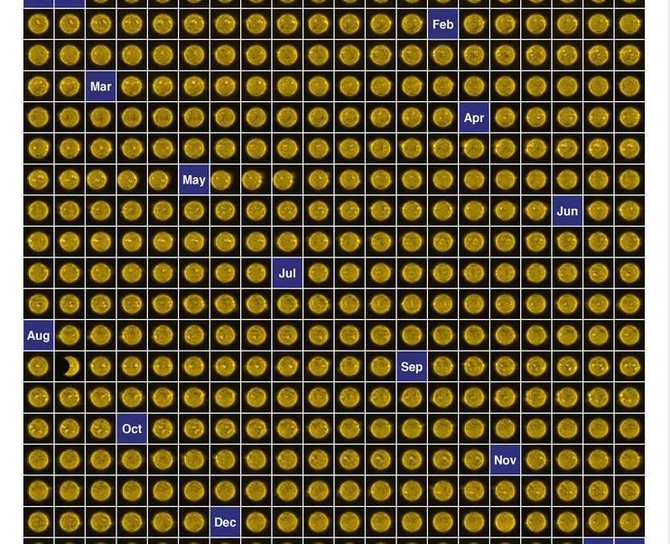 El Sol durante 2017. Montaje de la Agencia Espacial Europea.