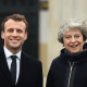 Emmanuel Macron y Theresa May en Sandhurst, en Inglaterra
